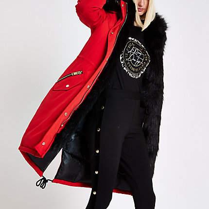 Womens Bright Red faux fur trim parka coat