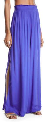 Ramy Brook Athena Side-Split Wide-Leg Cotton Pants