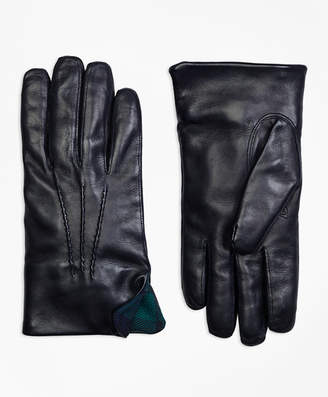 Brooks Brothers Leather Gloves with Black Watch Cuffs