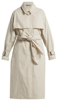 Bottega Veneta Single Breasted Cotton Blend Trench Coat - Womens - White