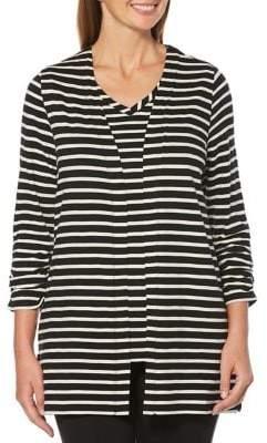 Rafaella Striped Open-Front Cardigan