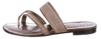 Manolo Blahnik Mesh-Accented Thong Sandals