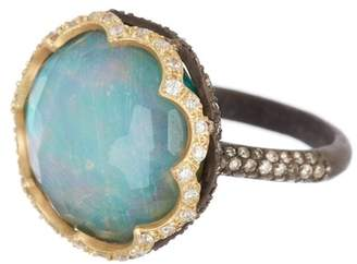 Armenta Old World 18K Yellow Gold & Blacked Sterling Silver Faceted Opal Pave Ring - Size 6.5