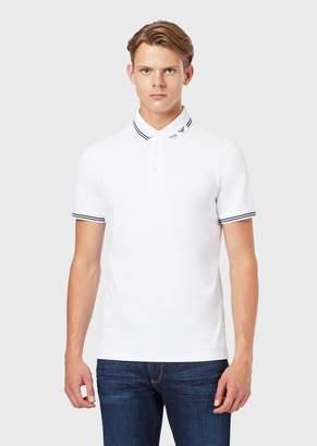 Emporio Armani Stretch Pique Polo Shirt With Logo Collar