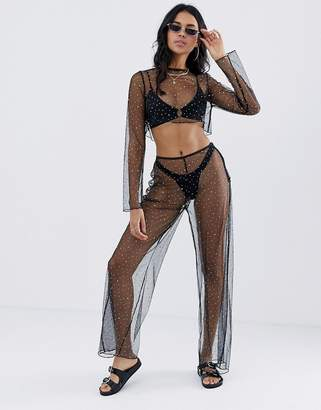Jaded London all over rhinestone mesh beach two-piece in multi