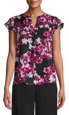 Calvin Klein Floral Flutter-Sleeve Blouse