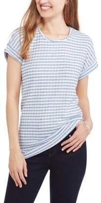 Mia Kaye Women's Short Sleeve Scoopneck Roll Tab Striped T-Shirt