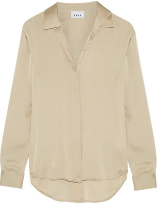 DKNY - Stretch-silk Crepe De Chine Blouse - Beige $260 thestylecure.com