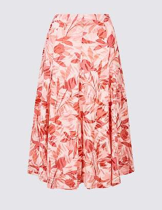 Marks and Spencer Cotton Blend Floral Print Full Midi Skirt