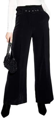 Topshop Covered Belt Wide Leg Trousers