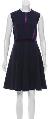 Aquilano Rimondi Aquilano.Rimondi Velvet-Trimmed Sleeveless Knee-Length Dress