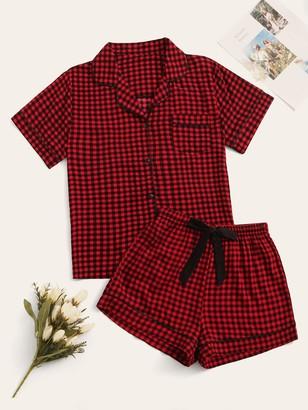 Shein Gingham Button-up Pajama Set