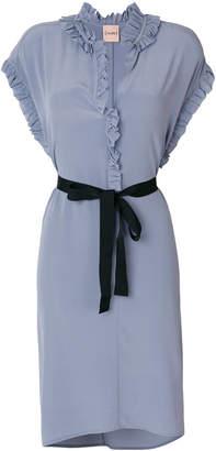 Nude frill-trim dress