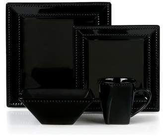 Lorren Home Trends Beaded Stoneware 16 Piece Dinnerware Set, Service for 4