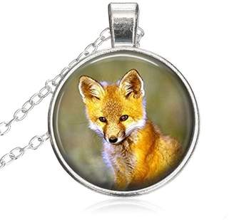 LEO BON Fox Pendant Art Animal Round Pendant Glass Necklace Choker Plating Chain Healing Amulet