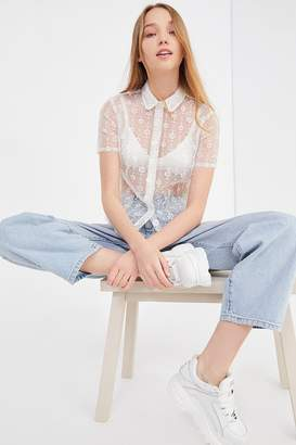 Urban Outfitters Molly Embroidered Mesh Button-Down Shirt