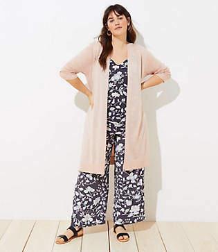 LOFT Plus Shimmer Open Cardigan