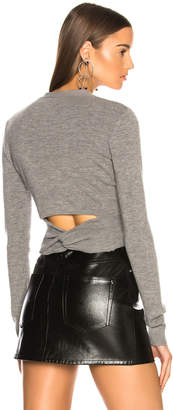 Alexander Wang Twist Back Cardigan in Heather Grey | FWRD