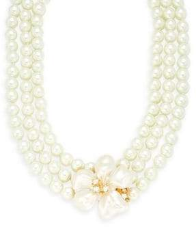 Kenneth Jay Lane Faux Pearl & Crystal Two-Row Necklace
