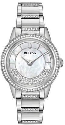 Bulova Swarovski Crystal Analog Stainless Steel Bracelet Watch