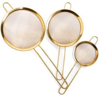 Thyme and Table 3-Pack Stainless Steel Mesh Strainer Set - Gold Finish