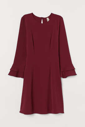 H&M Flounce-sleeved Dress - Red