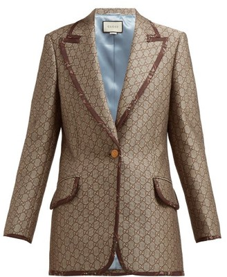 Gucci Gg Single Breasted Cotton Blend Jacket - Womens - Beige Multi
