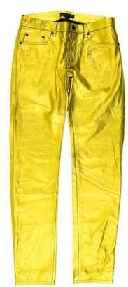 Burberry Metallic Leather Skinny Pants