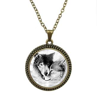 By Zoé Precious Stone Wolf Couple Wolf Jewelry Loyalty Wolves Design Silver Necklace for Valentine's Day STORE