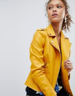 Miss Selfridge Leather Look Biker Jacket