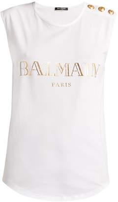 Balmain Logo-print cotton tank top