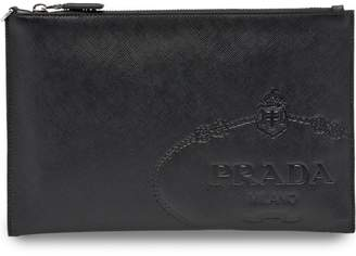 Prada embossed logo clutch bag