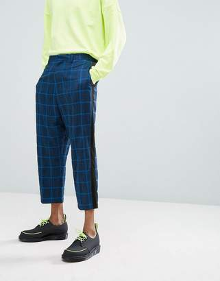 Asos DESIGN Drop Crotch Tapered Suit Pants In Blue Oversized Check With Side Stripe