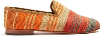 ARTEMIS DESIGN SHOES Striped-patterned woven Kilim and leather loafers