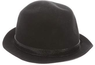 Gucci Leather-Trimmed Wool Fedora