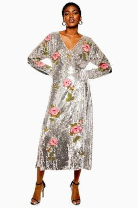 Topshop Womens Sequin Floral Beaded Wrap Dress