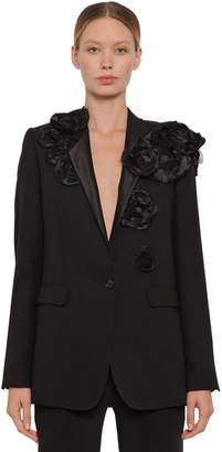Ann Demeulemeester Cool Wool Jacket W/ Flower Appliqués