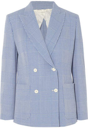 Max Mara Double-breasted Prince Of Wales Checked Wool Blazer - Blue