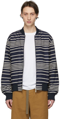 Dries Van Noten Reversible Navy and Off-White Striped Volker Bomber Jacket