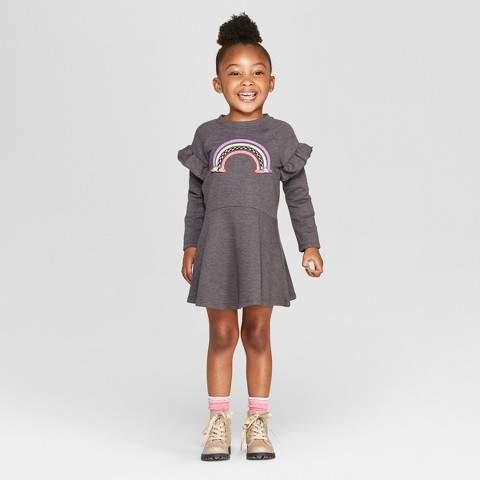 Cat & Jack Toddler Girls' A-Line Dress - Cat & Jack Charcoal 3T