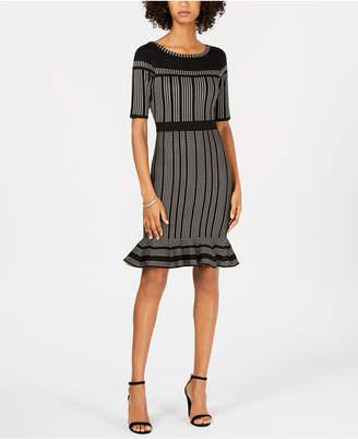 Taylor Striped Flounce-Hem Sweater Dress