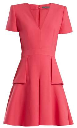 Alexander McQueen V Neck Peplum Waist Wool And Silk Blend Dress - Womens - Pink