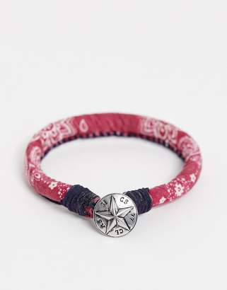 Classics 77 red fabric bracelet with paisley print