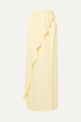 Les Héroïnes The Ella Ruffled Satin Maxi Skirt - Pastel yellow