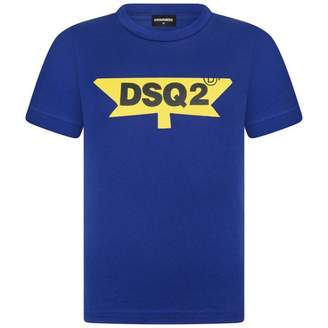 DSQUARED2 Dsquared2Boys Blue & Yellow Logo Top
