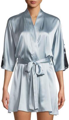Christine Lingerie Flutter 3/4-Sleeve Charmeuse Robe