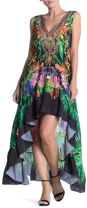 Shahida Parides Printed Embellished Drawstring Waist High/Low Dress