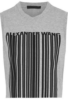 Alexander Wang Cropped Printed Cotton-jersey Tank