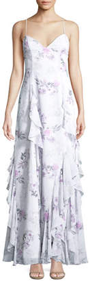 Fame & Partners The Nav Ruffled Floral Sleeveless Gown