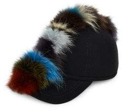 Lafayette House of Multi Fox Fur and Wool Baseball Cap